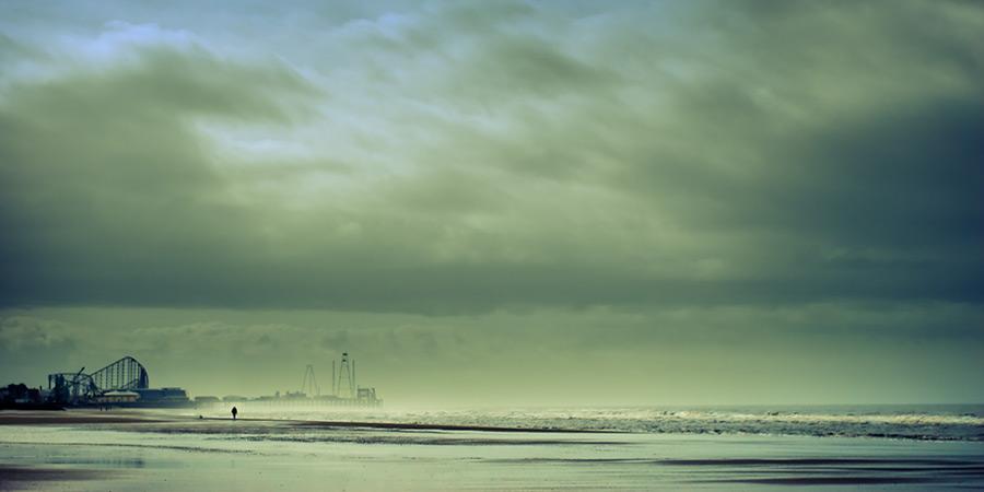 a scrap of blue / 2x1 + piers [South pier] + fylde coast [scenic] + people
