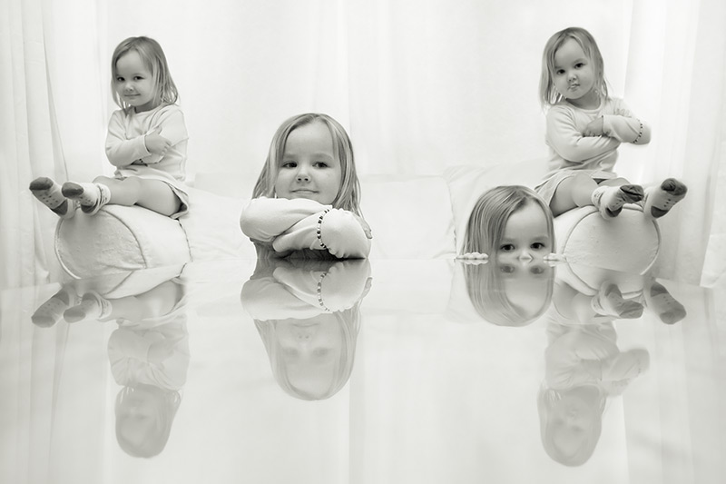 four part harmony / 3x2 + reflections [glass] + children [portraits]