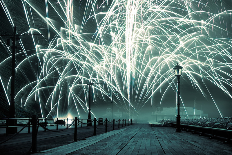 international fireworks #3 / 3x2 + piers [North pier] + night shots [long exposures] + fylde coast [scenic]