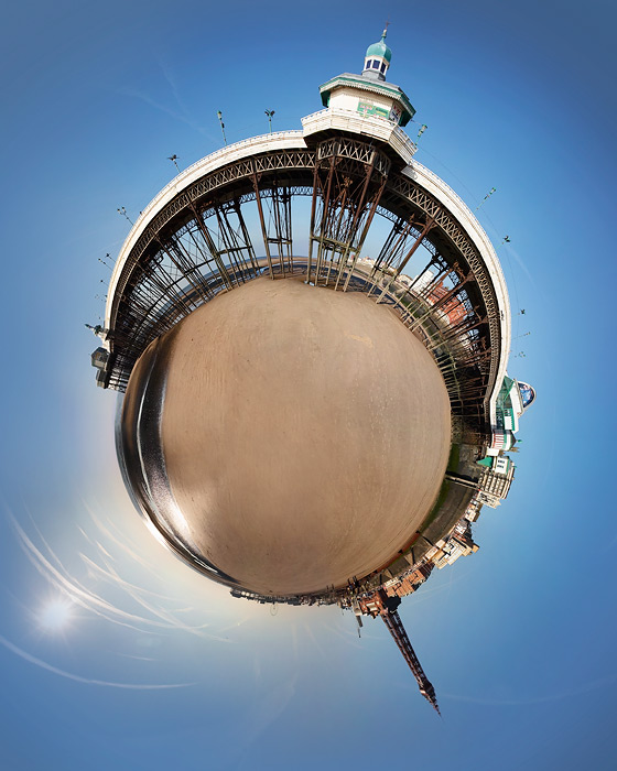 little planet #1 / Blackpool Tower + piers [North pier] + digital art + little planets + non standard