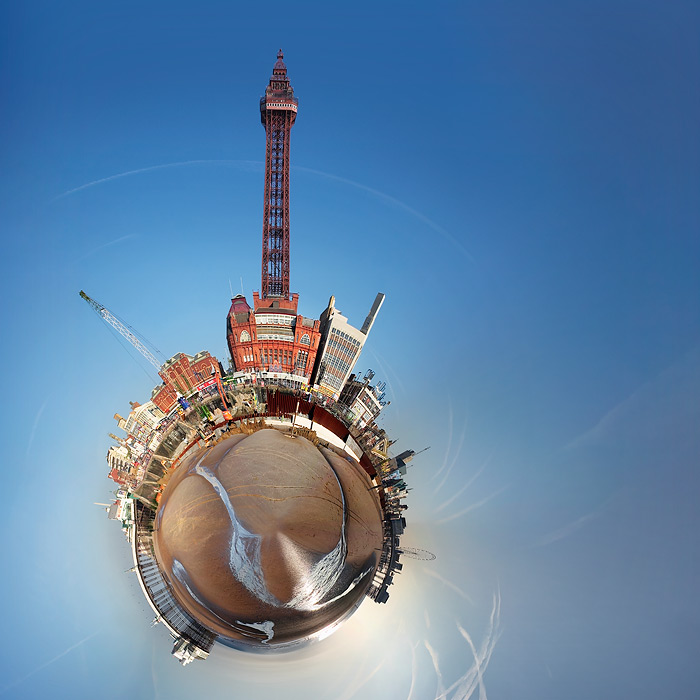 little planet #2 / 1x1 + Blackpool Tower + piers [Central pier] + piers [North pier] + digital art + little planets + photo friday