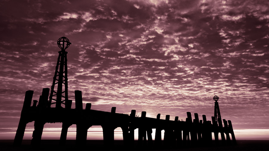 St. Annes sunset #3 / 16x9 + piers [St. Annes] + fylde coast [scenic] + show the original