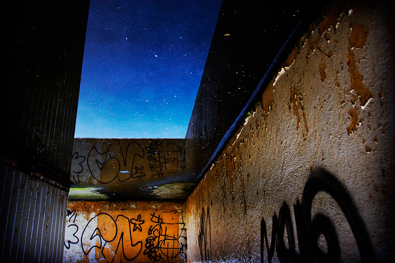 urban space / 3x2 + reflections [water] + graffiti + urban
