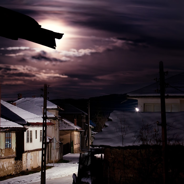 village by moonlight